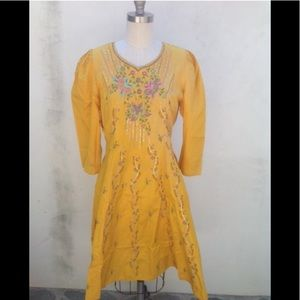 Vintage 80's silk yellow print dress size small